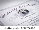 wedding bands on a marriage... | Shutterstock . vector #338597486