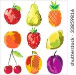 set of cute fresh fruits | Shutterstock .eps vector #33859816