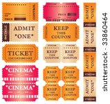 set of vintage tickets with... | Shutterstock .eps vector #33860464