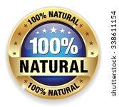 blue hundred percent natural... | Shutterstock .eps vector #338611154