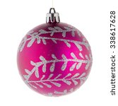 Pink Christmas Ball On White...