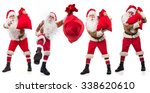 santos claus with his sack full ... | Shutterstock . vector #338620610