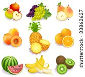 set of fruits icons   raster... | Shutterstock . vector #33862627