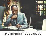 african man working determine... | Shutterstock . vector #338630396