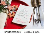 christmas table setting with... | Shutterstock . vector #338631128