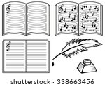 music books with lines  notes... | Shutterstock .eps vector #338663456