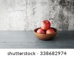 Apples In A Wood Bowl On Woode...