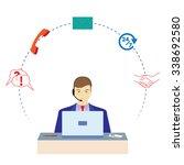 man working in a call center.... | Shutterstock .eps vector #338692580