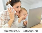 busy young businesswoman... | Shutterstock . vector #338702870