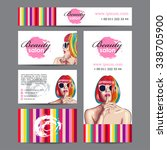 vector beauty salon card with... | Shutterstock .eps vector #338705900