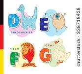 deutsch alphabet. dinosaur  egg ... | Shutterstock . vector #338718428