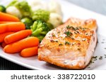 salmon fillet with mixed... | Shutterstock . vector #338722010