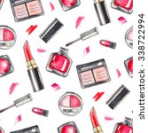 watercolor make up products set.... | Shutterstock . vector #338722994