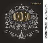 vintage vector monogram.... | Shutterstock .eps vector #338760374