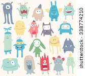 vector cute monsters set... | Shutterstock .eps vector #338774210