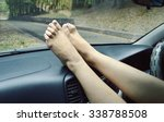 woman with sexy legs in car