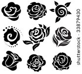 Set Of Black Rose Flower Desig...