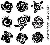 Set Of Black Rose Flower Desig...