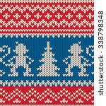 seamless knit pattern with... | Shutterstock .eps vector #338798348