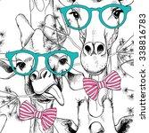 seamless pattern with giraffes... | Shutterstock .eps vector #338816783