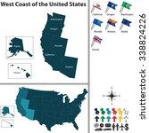 vector set of the west coast of ... | Shutterstock .eps vector #338824226