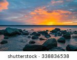stones in baltic sea at sunrise.... | Shutterstock . vector #338836538