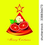 pizza merry cristmass | Shutterstock .eps vector #338836673