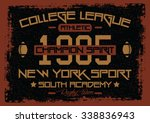 nyc college league  t shirt... | Shutterstock .eps vector #338836943