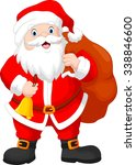 santa claus with a bag and bell