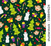 seamless pattern with decorated ... | Shutterstock . vector #338849624