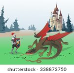 knight fighting dragon. the... | Shutterstock .eps vector #338873750