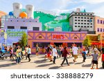 Small photo of LOS ANGELES, USA - SEP 27, 2015: Moe's Bar at The SImpsons area of the Universal Studios Hollywood Park. The Simpsons is an American animated sitcom by Matt Groening