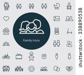 family outline  thin  flat ... | Shutterstock . vector #338890538