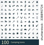 camping 100 icons universal set