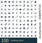 camping 100 icons universal set