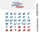 sport techno font alphabet... | Shutterstock .eps vector #338942954