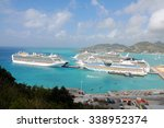 Small photo of PHILIPSBURG, ST. MAARTEN - JAN. 14: Cruise ships docked in St. Maarten on Jan. 14, 2011. St. Maarten is unique in that France and the Netherlands have amicably shared the island for over 300 years.
