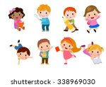 kids go to school  back to... | Shutterstock .eps vector #338969030