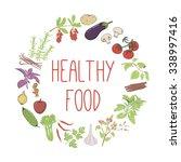 healthy food vector concept.... | Shutterstock .eps vector #338997416