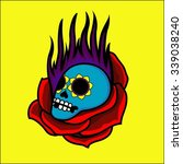 blue skull with fire and red... | Shutterstock .eps vector #339038240