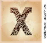 x. decorative letter. hand... | Shutterstock .eps vector #339044228