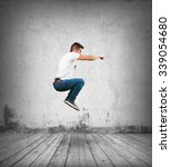 crazy man jumping | Shutterstock . vector #339054680