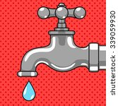 Water Tap With Drop Comic Book...