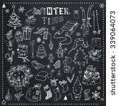winter season themed doodle set ... | Shutterstock .eps vector #339064073