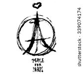hand drawn peace for paris... | Shutterstock .eps vector #339074174