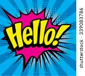 "pop art comics icon ""hello "".... 