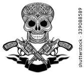 hand drawn  black  crossed guns ... | Shutterstock .eps vector #339088589