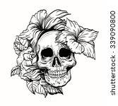 tattoo skull vector... | Shutterstock .eps vector #339090800