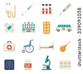 medical icons flat set with... | Shutterstock .eps vector #339091058