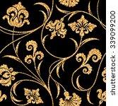 floral golden wallpaper | Shutterstock .eps vector #339099200
